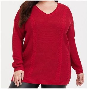 Torrid Red Cable Knit Tunic Sweater V-Neck Plus 2X